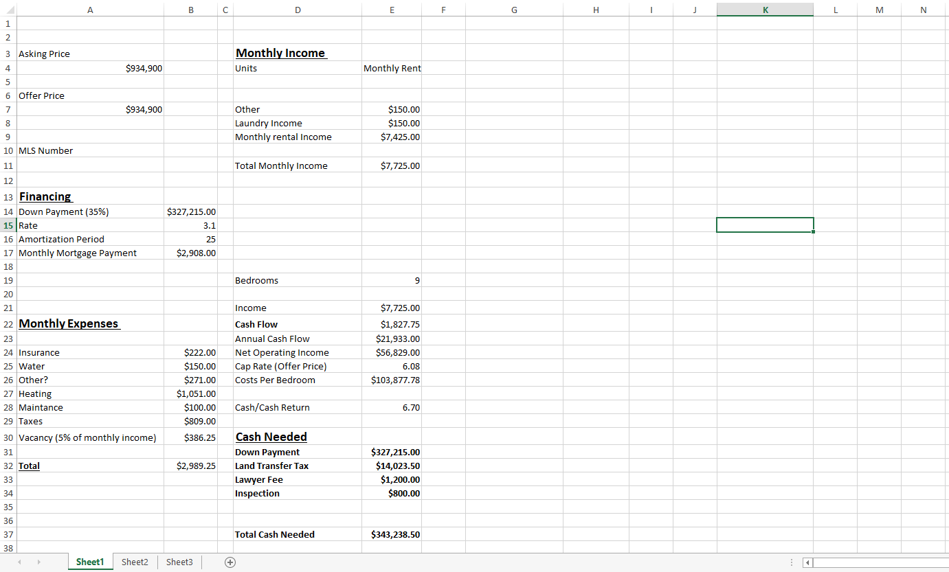 cash flow properties numbers